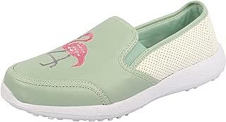KazarMax Women's Embroidered Faux Leather Flamingo Slipon Sneakers