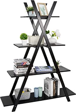 SUPER DEAL 4 Tier Bookshelf Storage Shelves, A Frame Bookcase, Plant Book Display Furniture Storage Rack Shelf for Home Office, Black