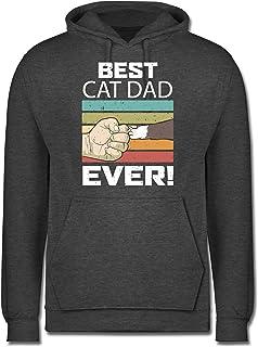 Shirtracer - Best Cat Dad Ever - Vintage weiß - Herren Hoodie und Kapuzenpullover für Männer