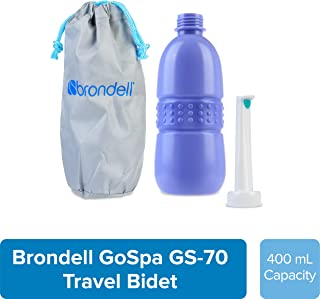 Brondell GoSpa Travel Bidet GS-70 Easy-to-use Portable Bidet with Convenient Nozzle Storage, Travel Bag, 400 ml Capacity, and Angled Nozzle Spray