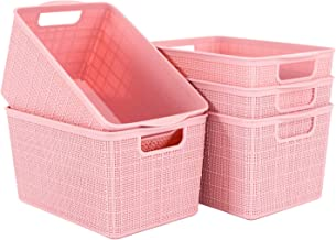 Yision Plastic Storage Baskets, Mesh Plastic Weave Stack Basket for Collection of Bedroom Supplies, Kitchen Supplies and B...