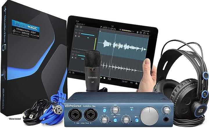 Audiobox presonus itwo studio bundle scheda audio usb daw microfono cuffie e cavi nero/ blu B00LY8J990