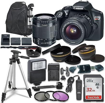 Canon EOS Rebel T6Cámara réflex digital con lente Canon EF-s 18–55mm II Lens de estabilización de imagen, SanDisk 32GB SDHC tarjetas de memoria, accesorio Bundle