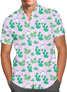 Rainbow Rules Kawaii Cactus Plants Mens Button Down Short Sleeve Shirt