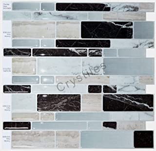 Crystiles Peel and Stick Self-Adhesive Vinyl Wall Stick-on Tile Backsplash, Multi-Color Marble Style, Item# 91010828, 10 in X 10 in, 1-Sheet Sample