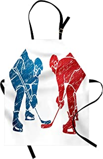 Lunarable Sport Apron, Hockey Players Hobby Activity Themed Athletes Game Win Champion Olympics Illustration, Unisex Kitchen Bib with Adjustable Neck for Cooking Gardening, Adult Size, Blue Red