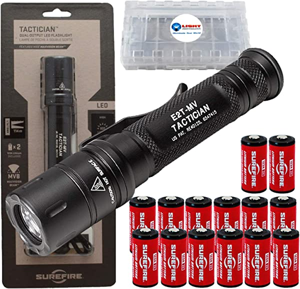 SureFire Tactician 800 Lumen Tactical EDC Flashlight Bundle With 12 Extra CR123A Batteries And 3 Lightjunction Battery Cases
