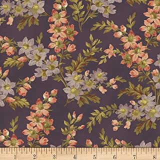 Windham Fabrics Nancy Gere Shiloh C.1880 Floral Sprigs Fabric, Purple, Fabric By The Yard