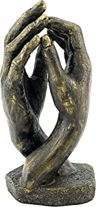 Bellaa 24803 Hand Statues by Rodin's The Cathedral Soulmates Lovers Sculpture Perfect Wedding 10 inch Bronze Color