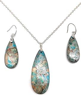 diamond shape Imperial Jasper Amazonite stone calming stone amazonite earrings dangle earrings stone earrings tranquility healing