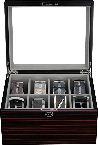 Ebony Wood Display Case For 8 Belts And Accessories Storage Box
