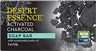 Desert Essence Soap Bar Activated Charcoal - 5 oz - Face & Body - Palm Oil - Detoxify & Moisturize Skin - Remove Excess Oil