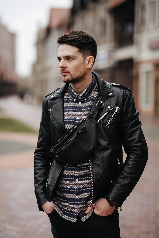 Black Indianapolis Mall leather fanny pack by Kruk Belt 2021 Garage Waist b Hip bag