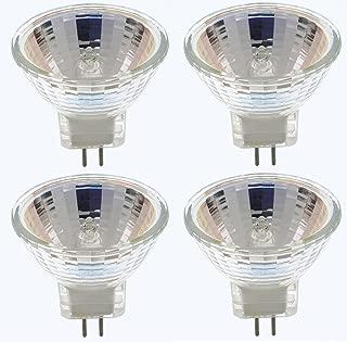 Pack Of 4 Fiber Optics MR11/5W/FL/CG 5 Watt, 6 Volt MR11, 6V, 5W GZ4 Bi-Pin Base, With UV Glass Cover Guard, Halogen Flood Light Bulb