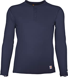 Carhartt Men's Force Midweight Classic Henley Thermal Base Layer Long Sleeve Shirt, Navy, 2X-Large