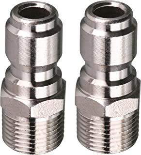 Tool Daily Pressure Washers Coupler, 3/8 Inch Quick Connect Nipple Plug to Male Thread Fitting, 5000 PSI, 2-Pack