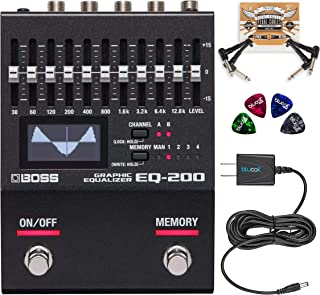 BOSS EQ-200 Graphic Equalizer Pedal Bundle with 3 AA Alkaline Batteries, Blucoil Slim 9V 670ma Power Supply AC Adapter, 2-Pack of Pedal Patch Cables, and 4-Pack of Celluloid Guitar Picks