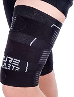 Pure Athlete Thigh Compression Sleeve – Adjustable Straps Quad Wrap Support Brace, Hamstring Upper Leg