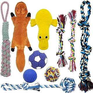 MLCINI Dog Toys Plush Dog Squeaky Toys Rope Dog Toy Dog Chew Toys Dog Toys for Medium Large Small Dogs Puppy Toys Dog Gift Set Dog Toy Pack with Bonus Storage Bag Plastic Free Safe and Durable