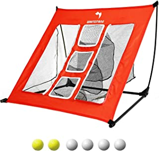 Golf Net,WhiteFang 4 in 1 Golf Practice Set 10x7ft/3 in 1 Golf Netting Bundle/Just Golf Chipping Net/Just Golf Hitting Grass Mat|Golf Balls with Portable Carry Bag for Backyard Driving/Indoor/Outdoor