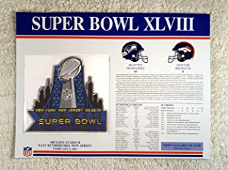 Super Bowl XLVIII (2014) - Official NFL Super Bowl Patch with complete Statistics Card - Seattle Seahawks vs Denver Broncos - Malcolm Smith MVP