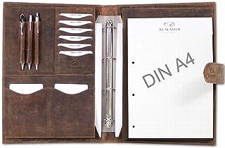 ALMADIH conférencier format A4 en cuir vachette avec classeur anneaux amovible et bloc-notes inclus, marron vintage - Agen...