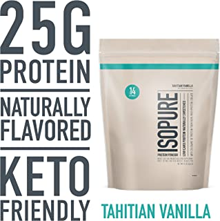 Isopure Naturally Flavored, Keto Friendly Protein Powder, 100% Whey Protein Isolate, Flavor: Natural Tahitian Vanilla, 1 Pound