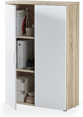 Habitdesign Mueble Auxiliar Despacho, Armario Estudio, Modelo Office, Acabado en Blanco Artik y Roble Canadian, Medidas: 80 cm (Ancho) x 119 cm (Alto) x 32,5 cm (Fondo)