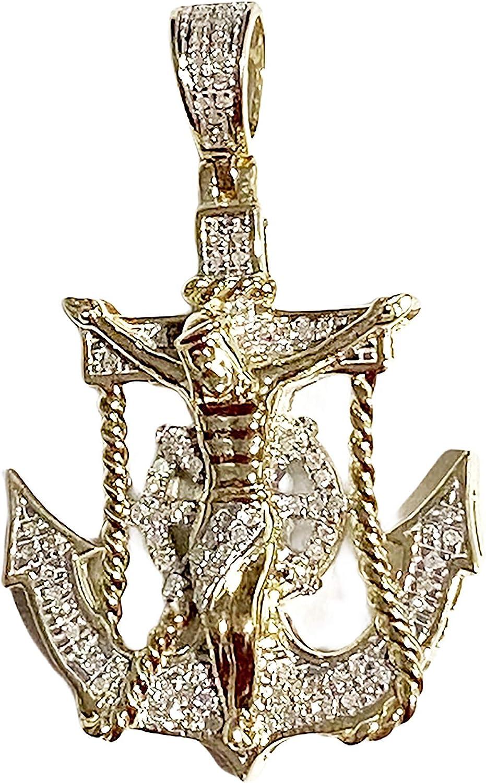TGDJ Solid 10k Yellow Gold 0.28ct Jesus Cross Mariner Charm Anchor Crucifix Diamond Pendant