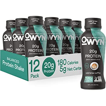 OWYN - 100% Vegan Plant-Based Protein Shakes | Cold Brew Coffee, 12 Fl Oz (Pack of 12) | Dairy-Free, Gluten-Free, Soy-Free, Tree Nut-Free, Egg-Free, Allergy-Free, Vegetarian