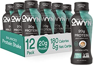 OWYN - 100% Vegan Plant-Based Protein Shakes | Cold Brew Coffee, 12 Fl Oz (Pack of 12) | Dairy-Free, Gluten-Free, Soy-Free...