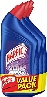 Harpic Active Cleaning Gel Value Pack, Lavender Fresh, 500ml (Pack of 3)