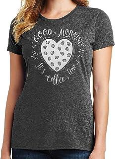RHEYJQA Good Morning, It's Coffee Time! Womens T-Shirt 2213 Pumpkin Spice Latte Style
