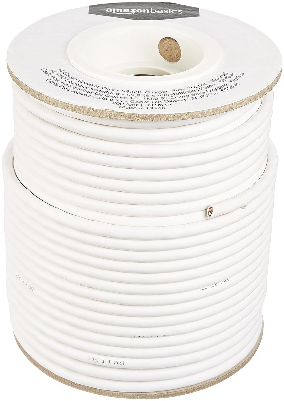 AmazonBasics 14-Gauge Audio Speaker Wire Cable - 99.9% Oxygen-Free Copper, 200 Feet