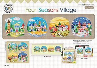 SO-G85 Four Seasons Village, SODA Cross Stitch Pattern leaflet, authentic Korean cross stitch design chart color printed on coated paper