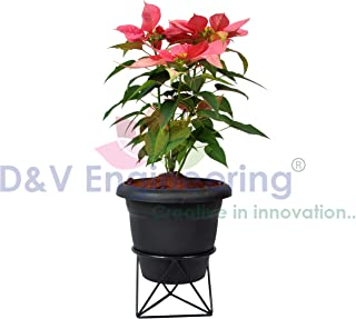 D&V Engineering-Iron Unique Triangle Based Pot/Plant Stand for Home Garden or Balcony décor, Black-1piece