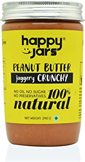 Happy Jars 100% Natural Jaggery Crunchy Peanut Butter | 290g | Crunchy | Make Smoothies with This |Gluten-Free| Vegan| No Oil | No Sugar | No Preservatives | No Cholesterol | Best Seller
