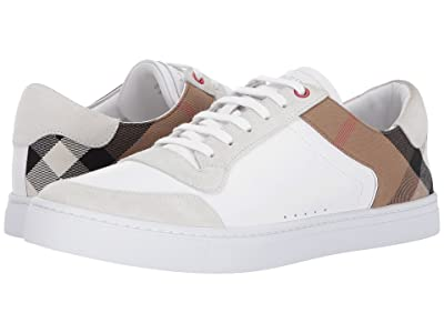 Burberry Reeth House Check Low Top Sneaker (Optic White) Men