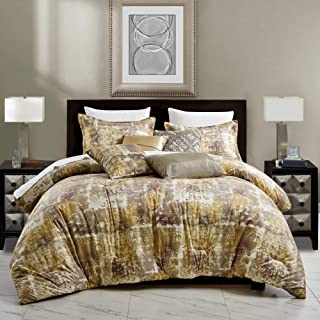 7 Piece Gold Yellow Taupe Brown Queen Comforter Set Luxury Royal Velvet Bedding with Pillow Shams and Decorative Pillows-N...