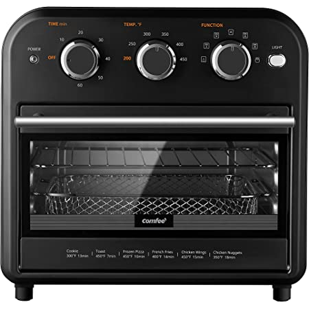 Comfee' Retro Air Fryer Toaster Oven, 7-in-1, 1250W, 13.6L Capacity, 4 Slice, Air Fry, Bake, Broil, Toast, Warm, Convection Broil, Convection Bake, Black, Perfect for Countertop (CO-A101A(BK))