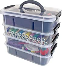 Stackable Plastic Storage Containers by Bins & Things | Plastic Storage Bin with 2 Trays | Bins for Arts Crafts Supplies | Jewelry Making Storage Box | Portable Storage Box (Gray)