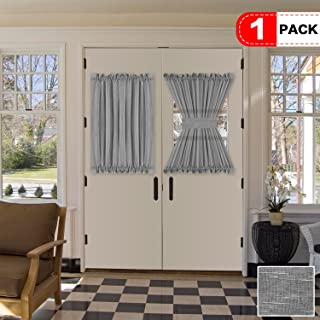 H.VERSAILTEX Grey Curtains for French Door, Linen Poly Blended Curtain Panels - Light Filtering Solid Rod Pocket Semi Sheer for Glass Door - 52