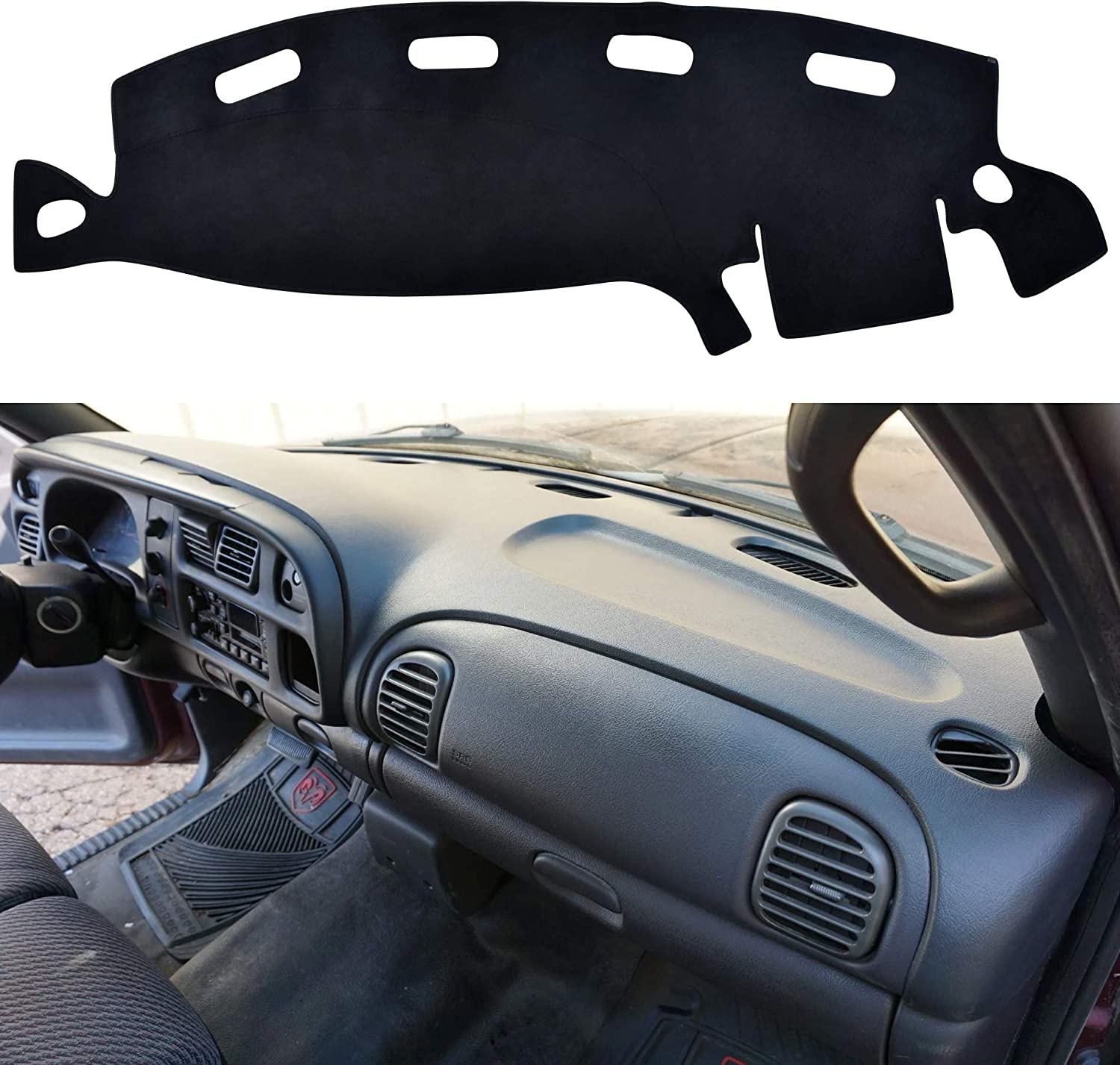 SPEEDWOW Dashboard Dash Board Cover Mat Carpet Compatible with 2002-2005 Dodge Ram 1500 2500 3500