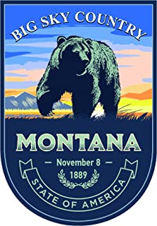 State animal Montana day 4x5.5 inches sticker decal die cut vinyl - Made and Shipped in USA