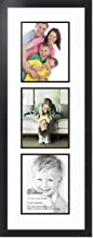 ArtToFrames Double-Multimat-139-61/89-FRBW26079 Collage Photo Frame Double Mat with 3-8x10 Openings and Satin Black Frame, Super White, 3-8x10