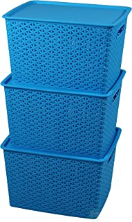 Basicwise QI003214.3 Plastic Blue Storage Container Box with Lid (Set of 3)