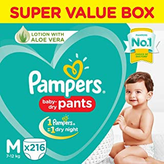 Pampers New Diaper Pants Super Value Box, Medium (Pack of 216)