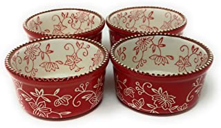 Temp-tations Set of 4 Round Ramekins Mini Bakers 6oz Single Serving (Floral Lace Red)