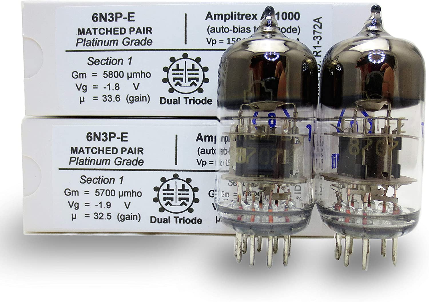 Platinum Grade Pair Riverstone Audio 6N3P-E Amplitrex Tested//Matched - Vintage NOS Russian Vacuum Tubes Replacement for 6N3 // 6N3P // 5670 // 5670W // 396A // 2C51 6N3P-E Matched Pair 2 tubes