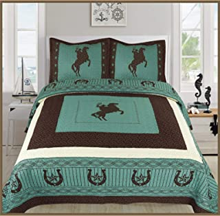 Sapphire Home 3 Piece King Size Quilt Bedspread Set w/2 Pillow Shams, Western Design Collection, Wild Horse Country/Horseshoe/Star/Cowboy Design, King Western Turquoise Brown